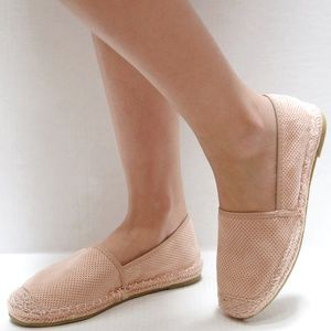 New Blush Pink Perforated Slip On Espadrille Flats